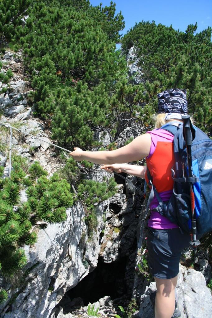 Tiefe Schlucht kurzem vorm Gipfel