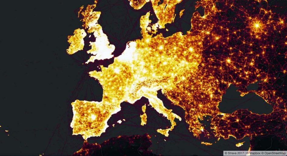 Strava Heatmap für Europa