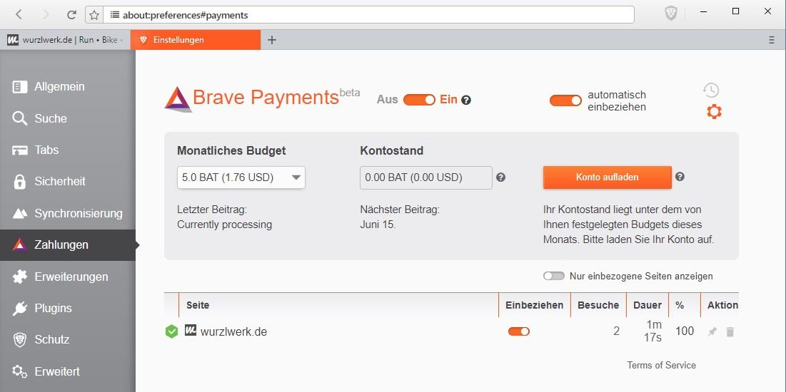 Brave Payments Einstellungen im Browser