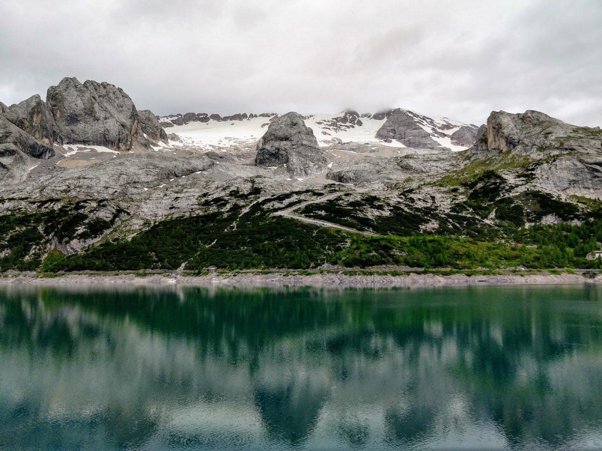 Marmolata Gletscher und Lago di Fedaia
